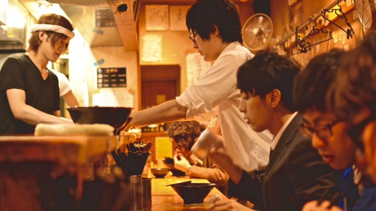 Dining in ramen restaurant
