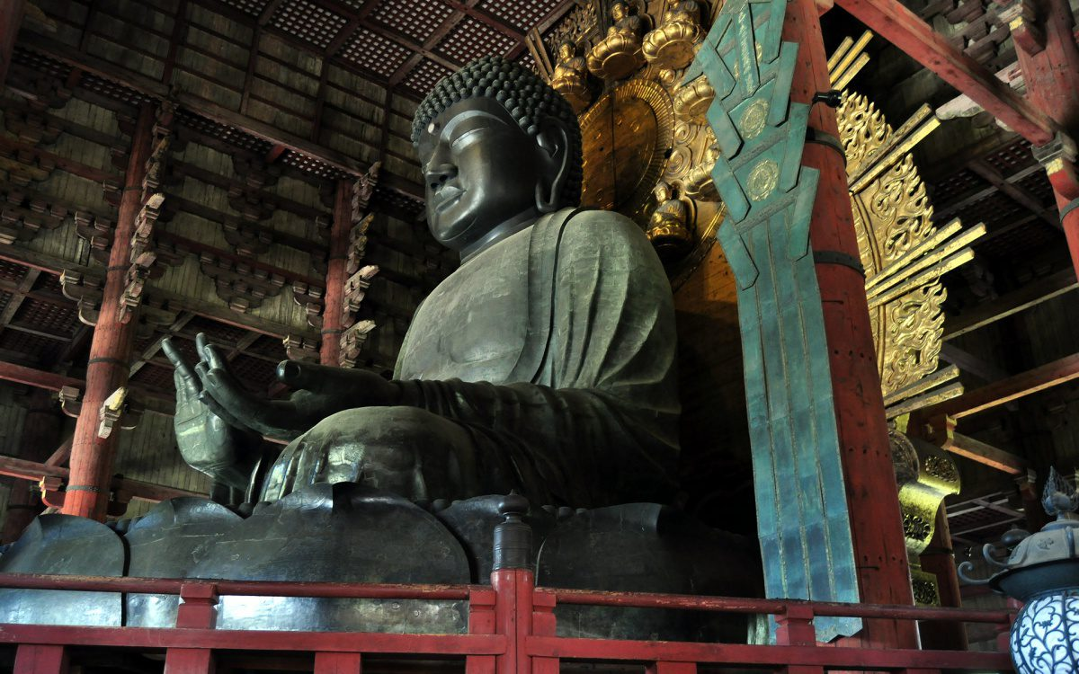 Great Buddha (Daibutsu) in the Daibutsuden hall of Todai-ji Buddhist temple complex in Nara, Japan