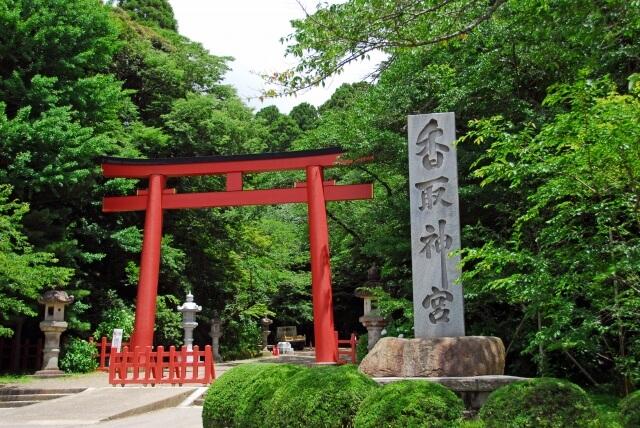 Katori shrine red torii gate