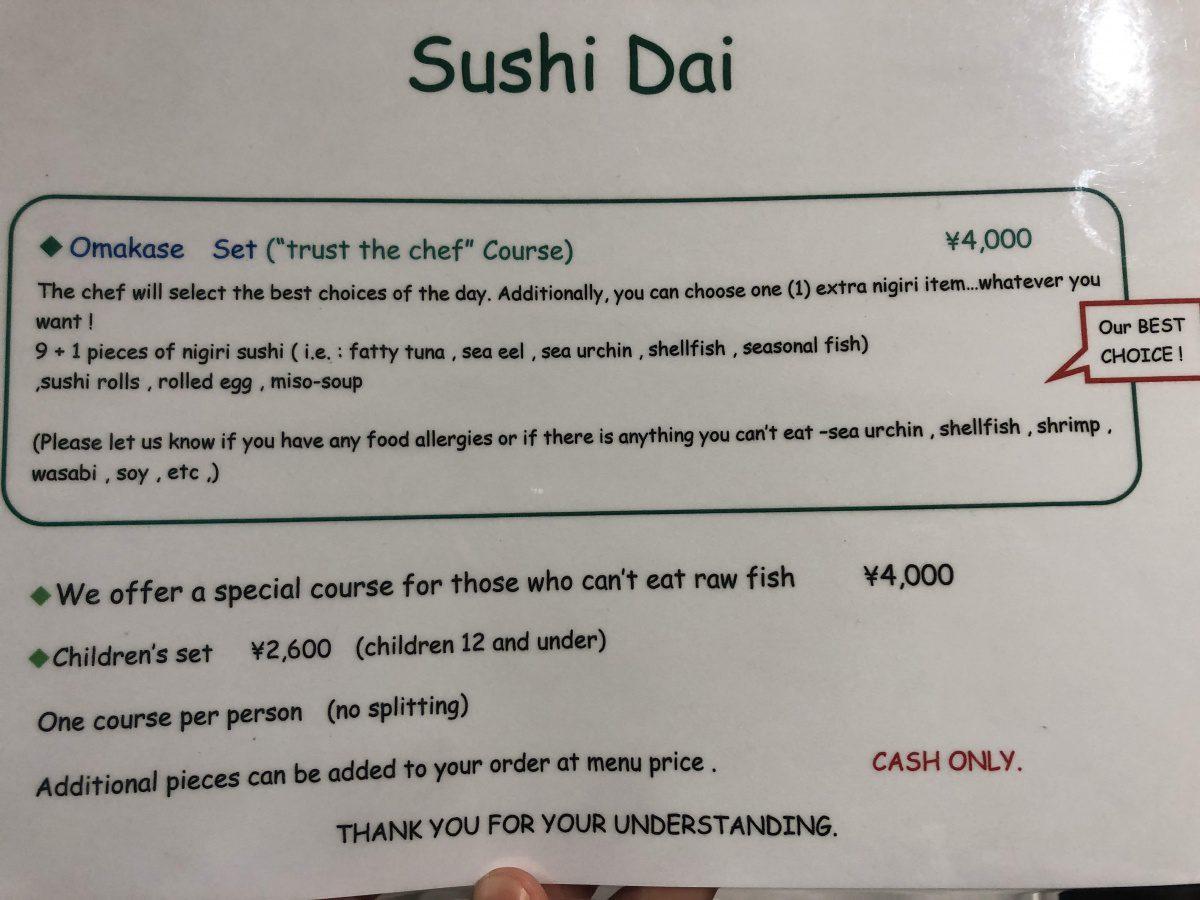 Sushi dai menu