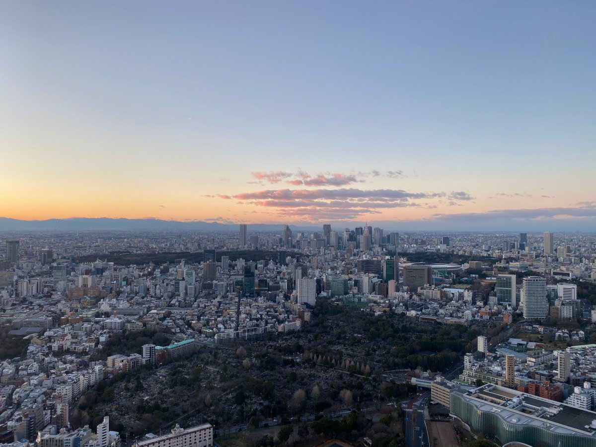Tokyo skyline sunset from Mori Tower