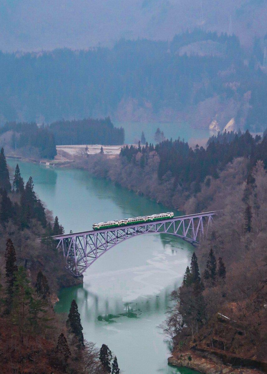 Fukushima, Tadami river, bridge, train