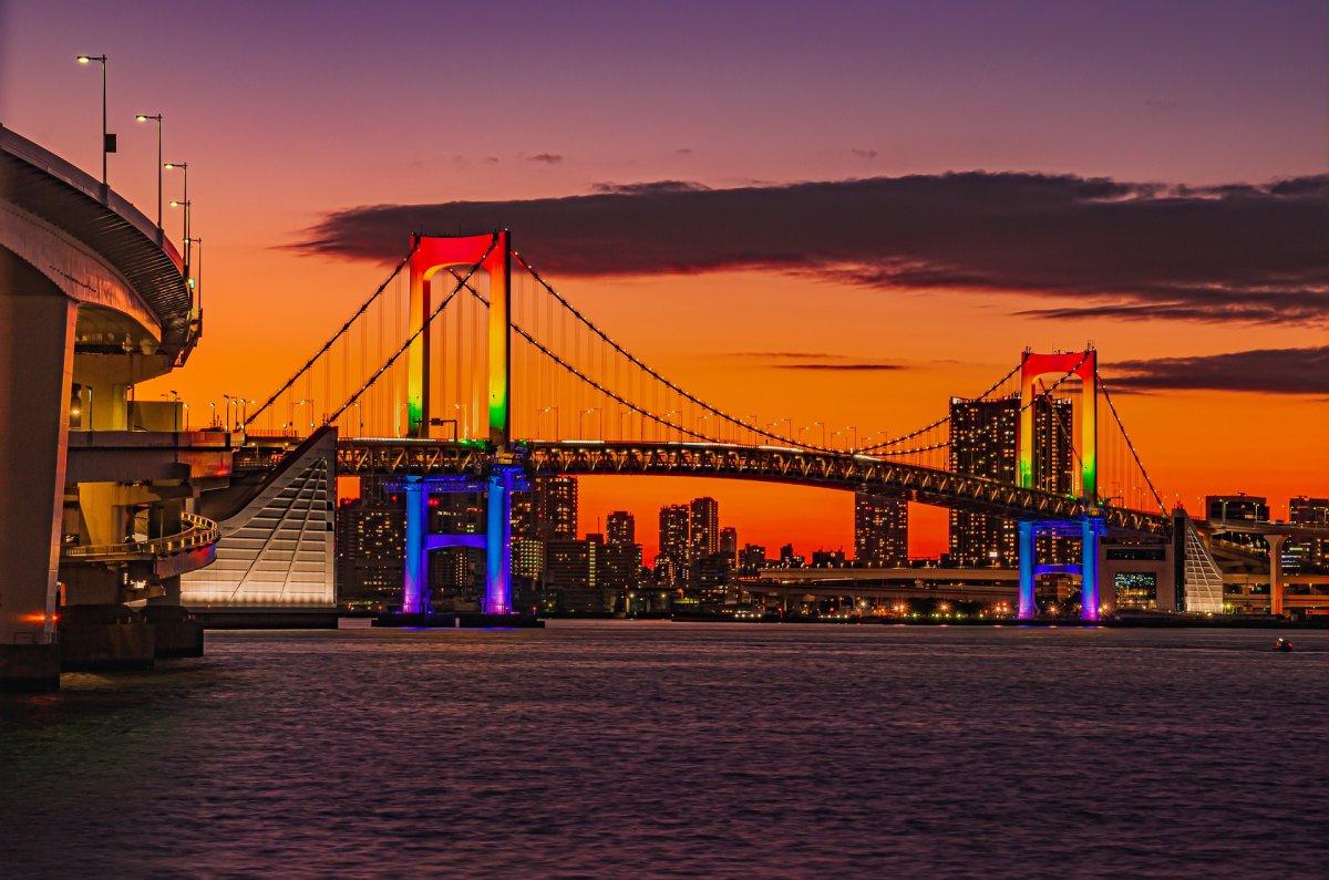 Tokyo Rainbow Bridge sunset
