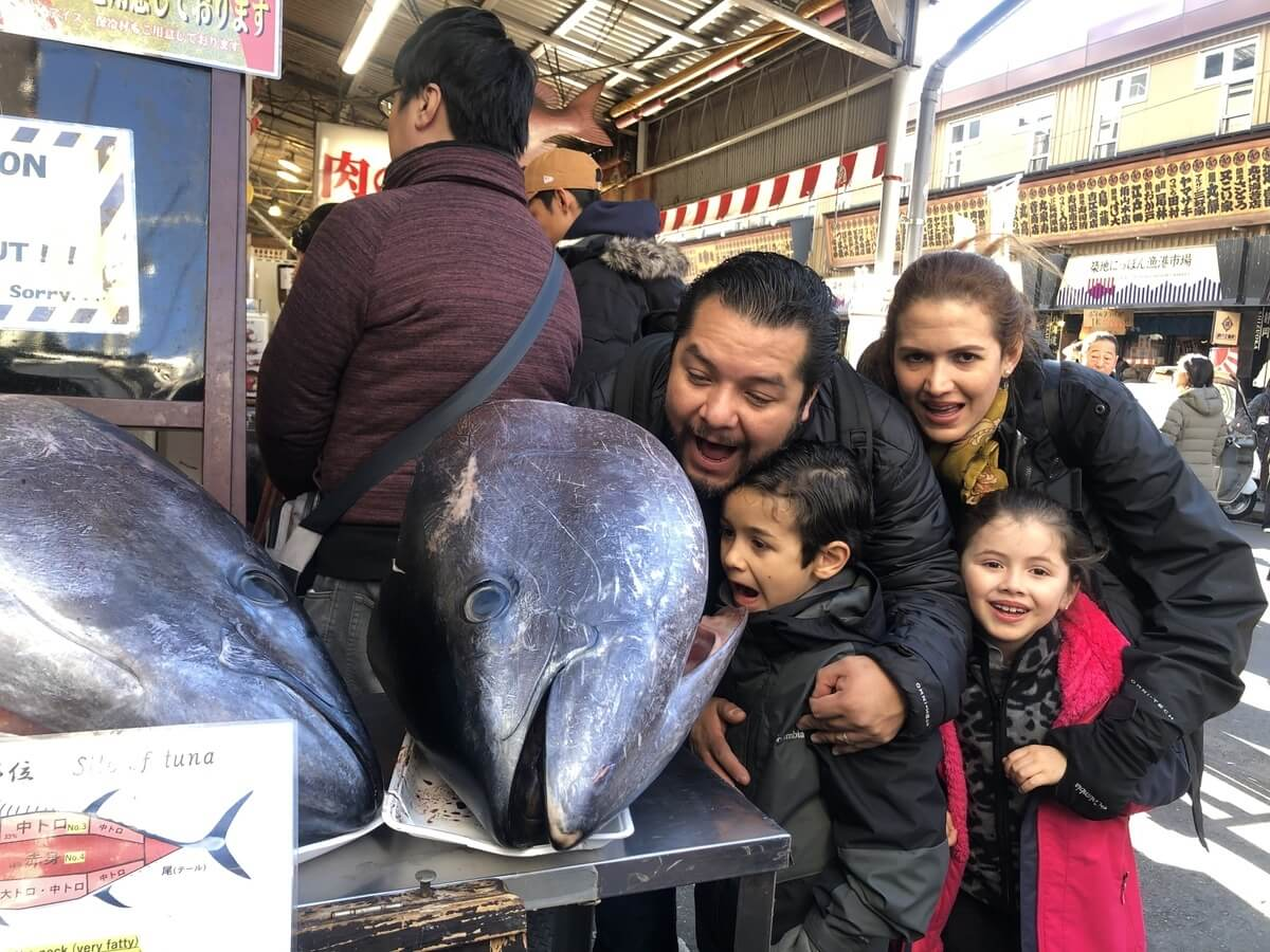 Tsukiji Fish Market, Tokyo, Family Friendly Destination in Japan, Food Tour, Tuna Cutting Show