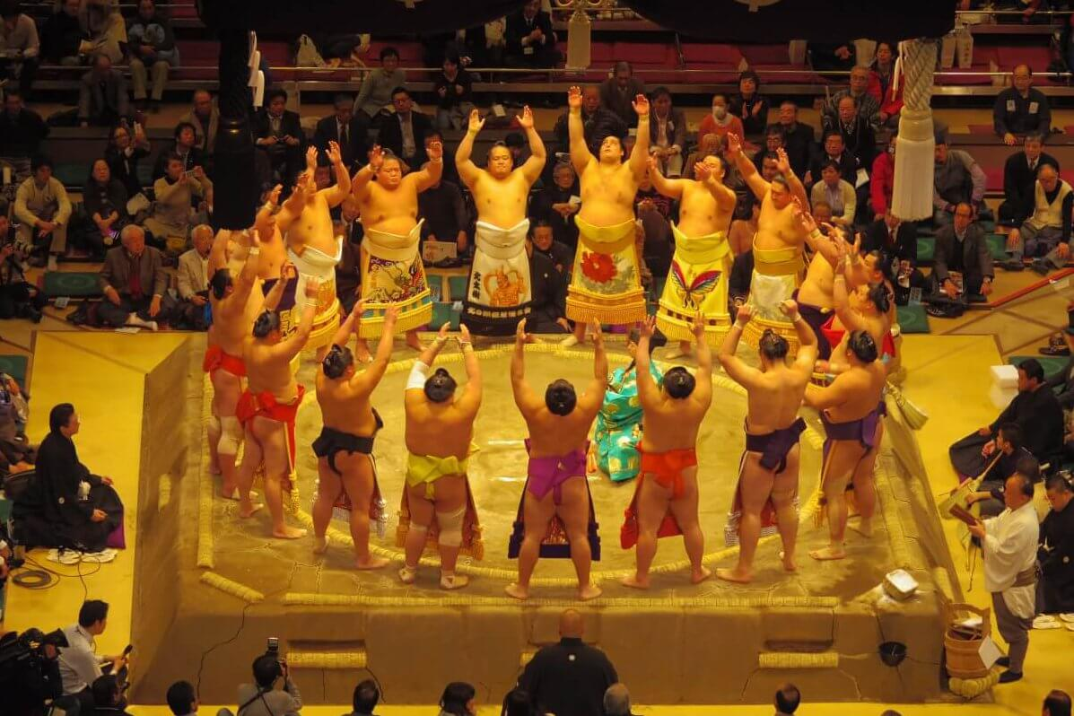 Grand sumo tournament ring entering ceremony