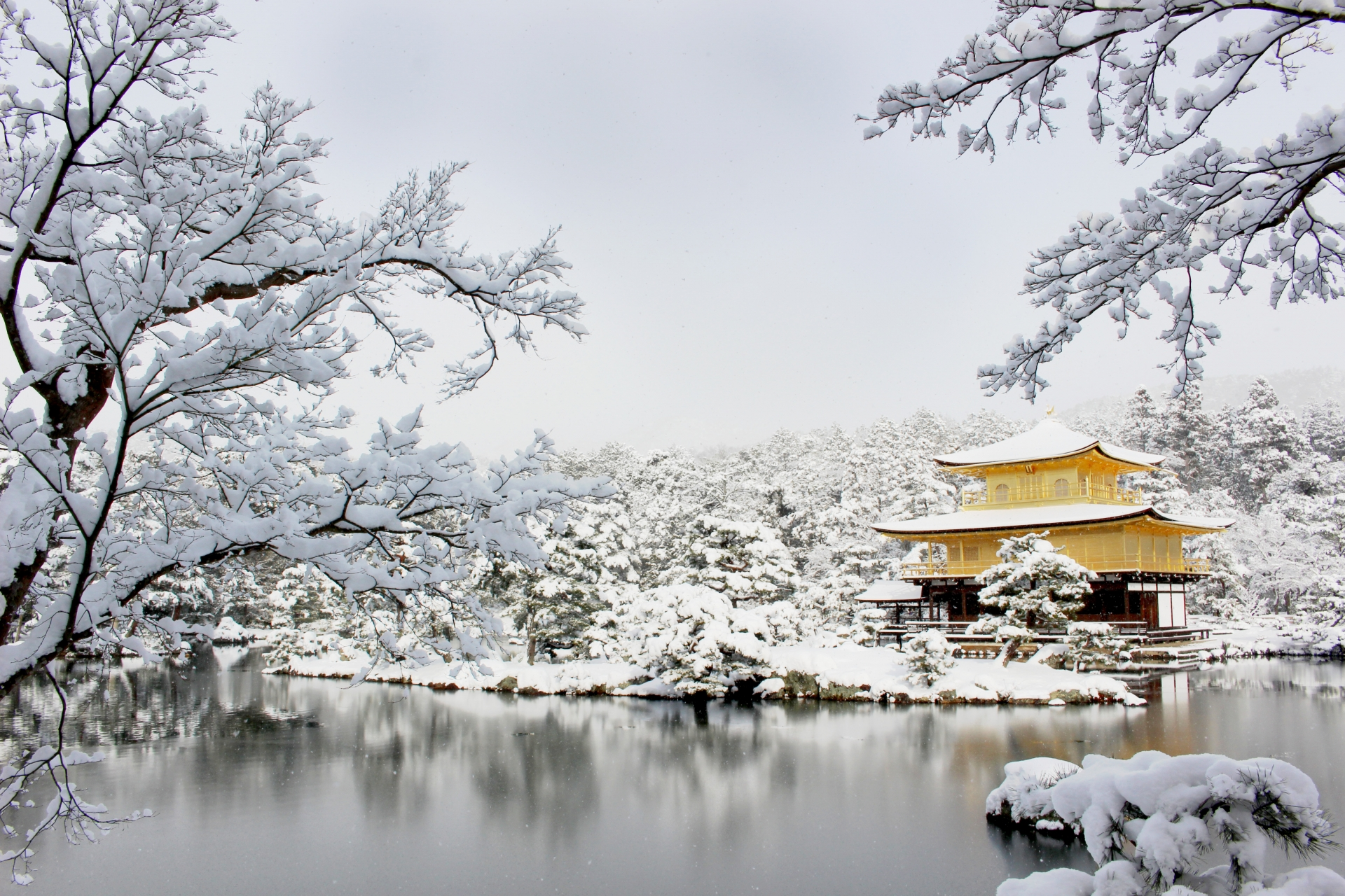 Kinkakuji snow kyoto